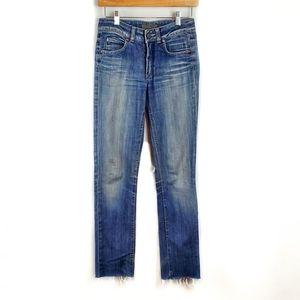 Acne Jeans Distressed Straight Leg Raw Hem Jeans